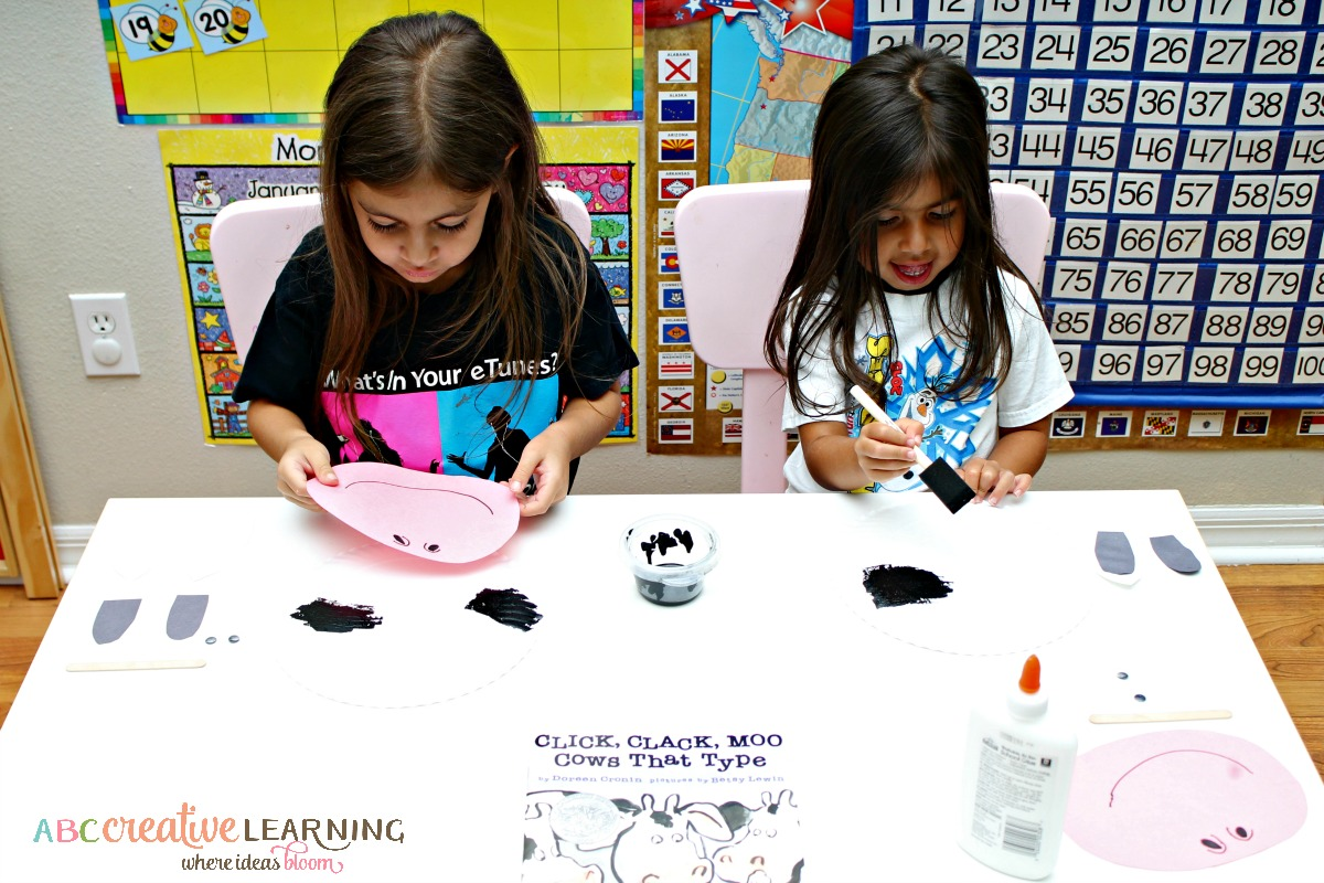 Click, Clack, Moo Cows That Type Cow Paper Plate Mask Fine Motor Skills