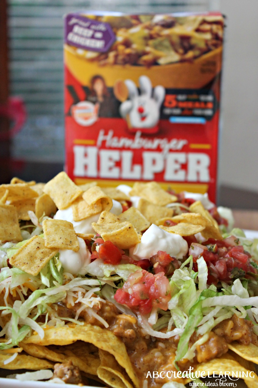 Easy Taco Nacho Recipe for national Hamburger Month