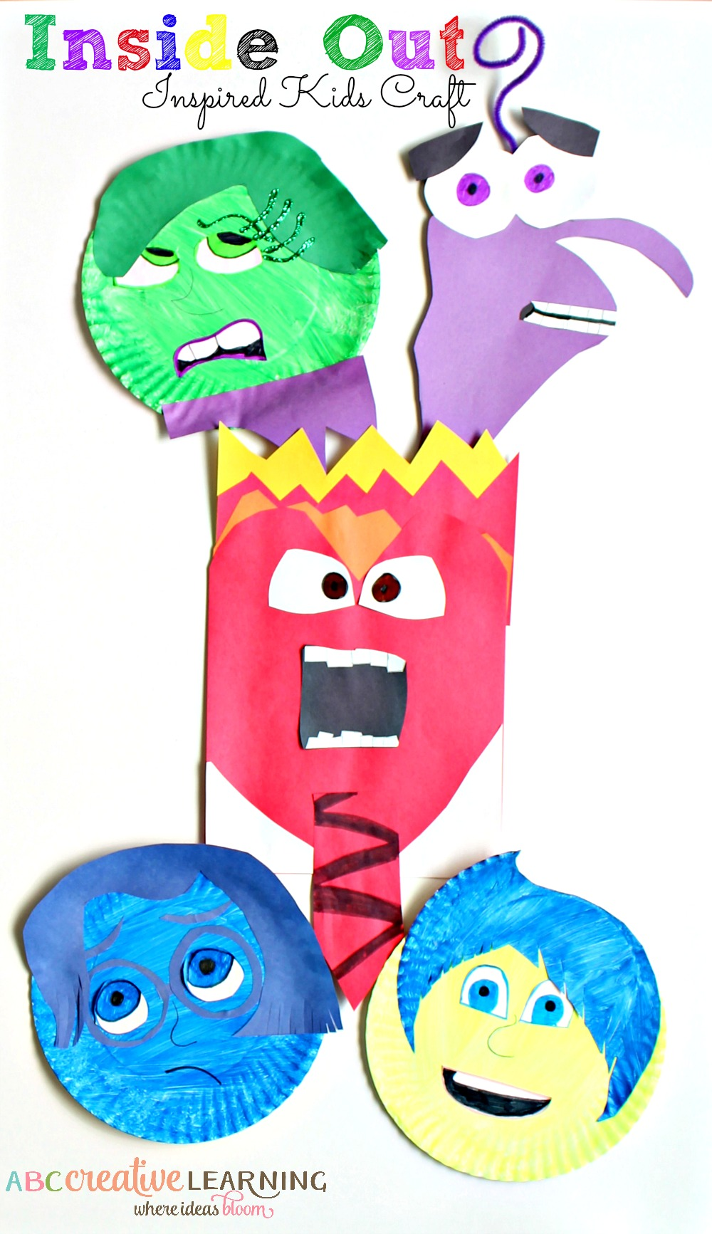 Inside Out Inspired Paper Plate Emotions Kids Craft