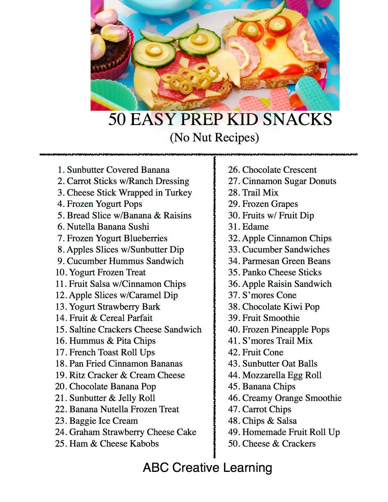 50 Easy Prep Kid Snack Ideas + Printable