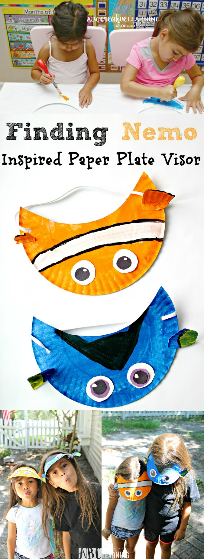 Finding Nemo Inspired Paper Plate Visor Hat for Kids - abccreativelearning.com