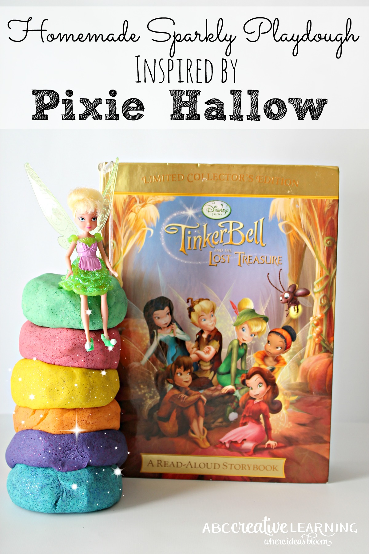 Do you have a fairy fan? Here is a great Homemade Sparkly Playdough Inspired by Pixie Hallow Books! Perfect for little hands and fine motors skills play.
