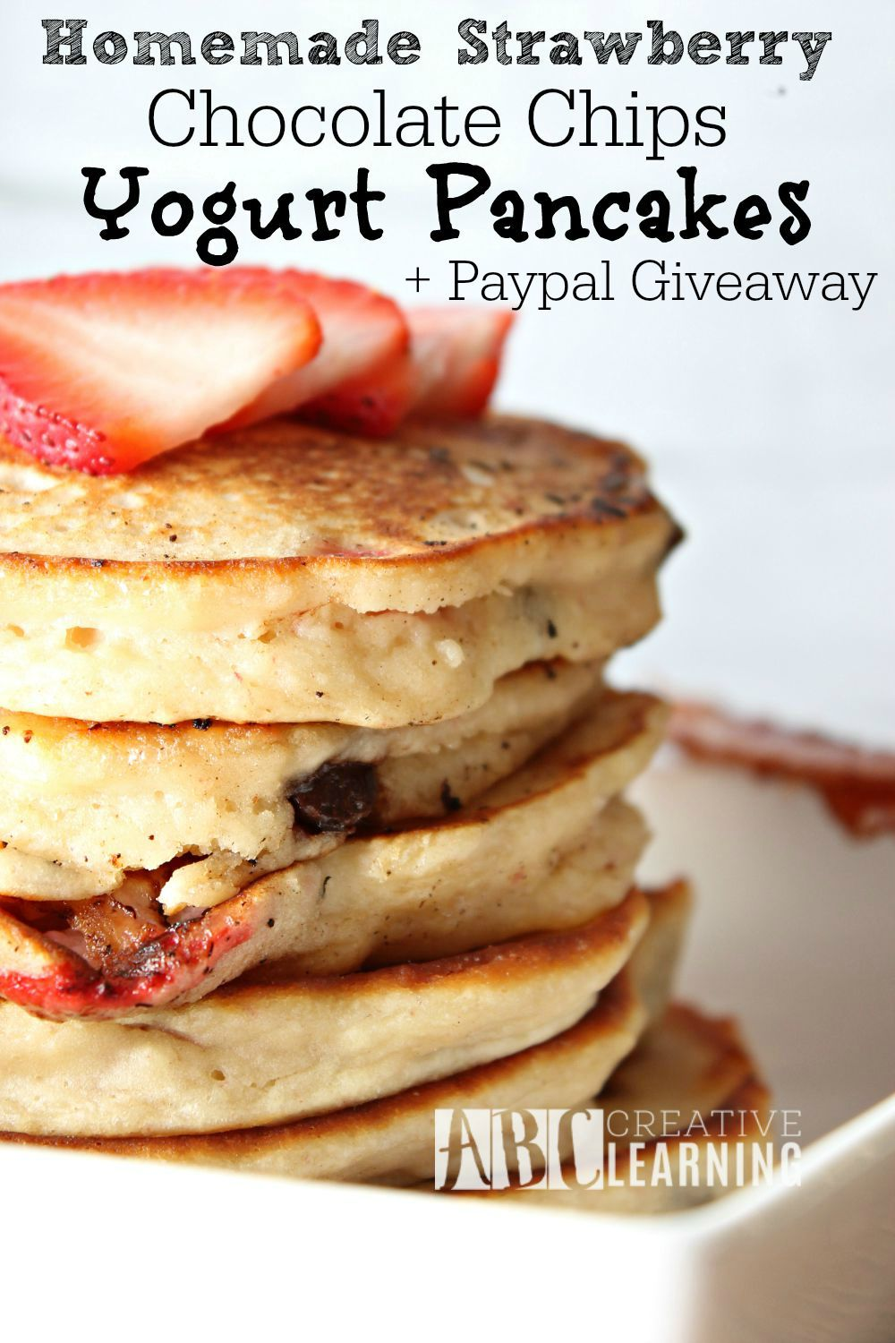 Homemade Strawberry Chocolate Chips Yogurt Pancakes plus giveaway