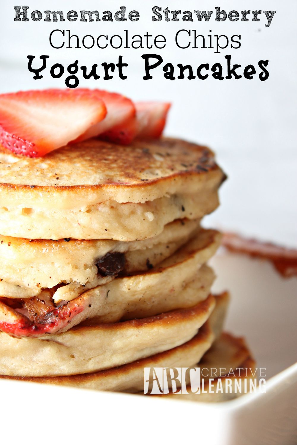 Homemade Strawberry Chocolate Chips Yogurt Pancakes