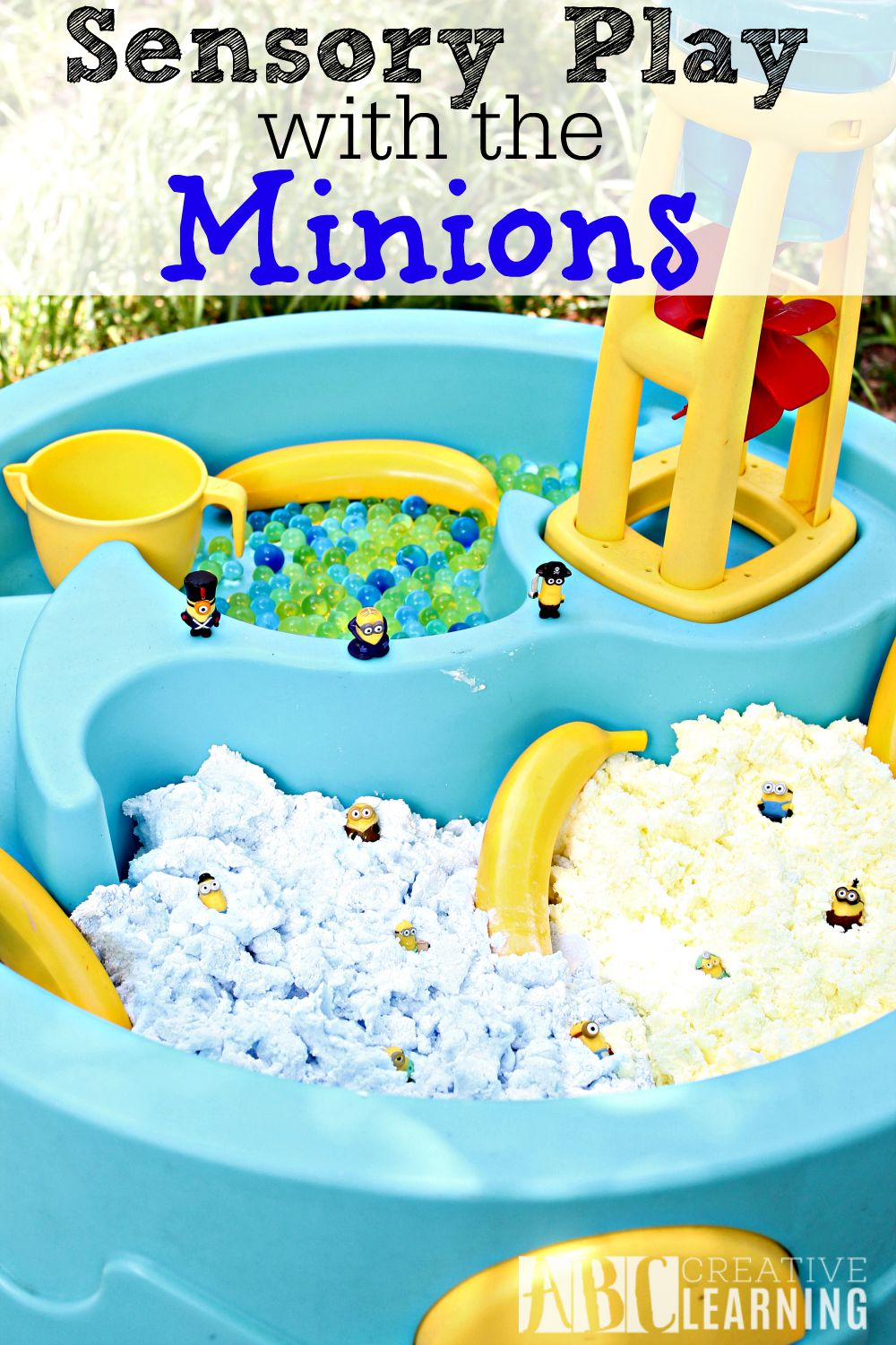 Sensory Play with the Minions activity is perfect for letting children explore through play and imagination!