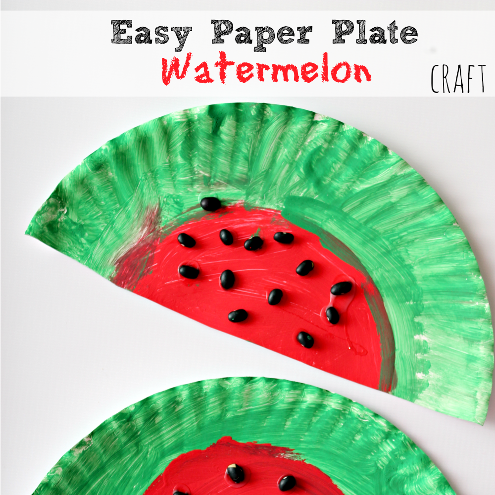 Easy and simple paper plate watermelon kids craft project for Simple handicraft project