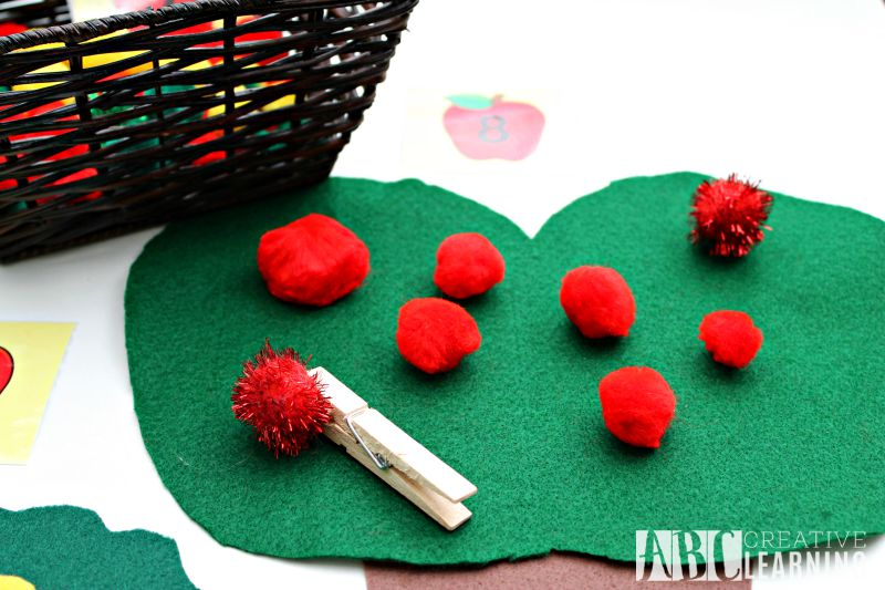 DIY Felt Apple Counting and Fine Motor Skills Activity Apple Tree