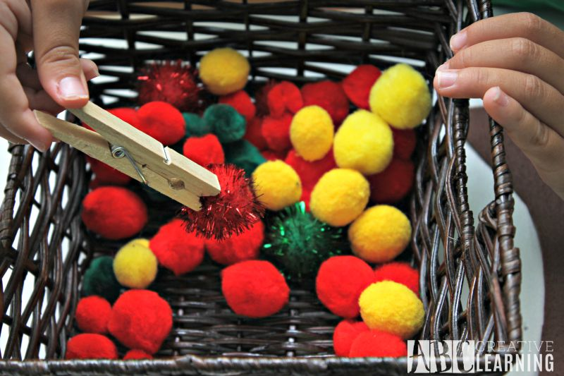 DIY Felt Apple Counting and Fine Motor Skills Activity pom-poms