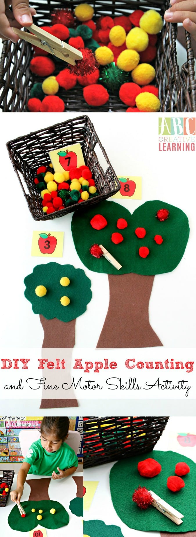 DIY Felt Apple Counting and Fine Motor Skills Activity - simplytodaylife.com