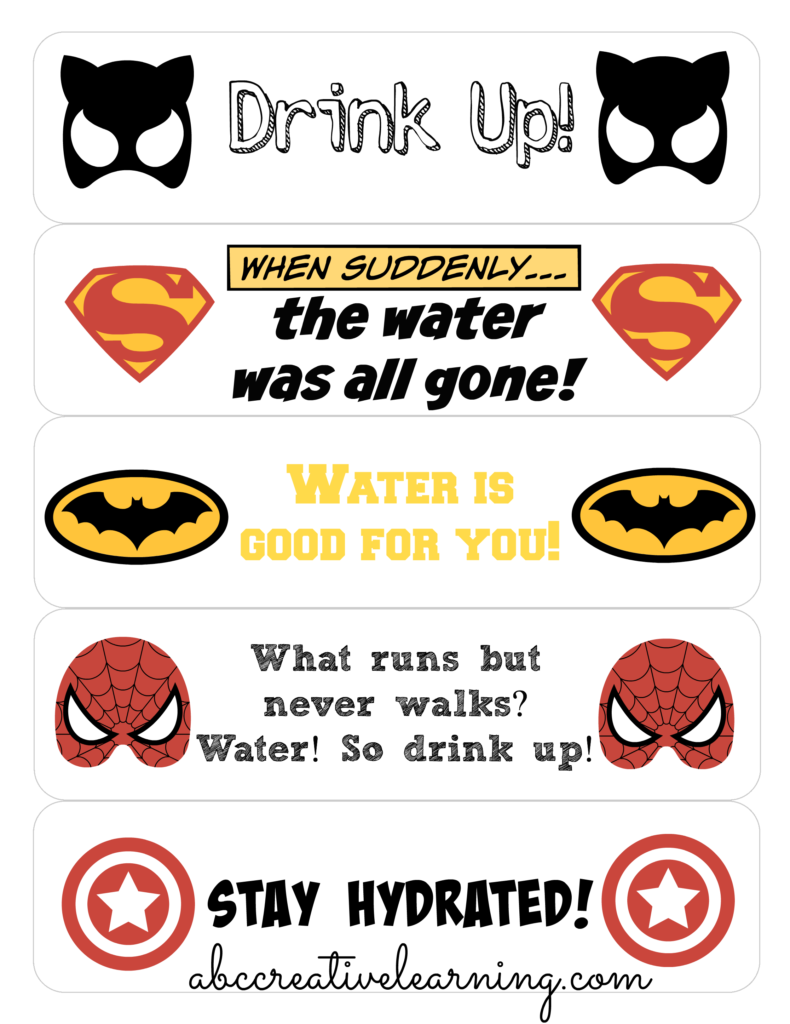 Keeping Kids Hydrated in School + Free Printable Super Heroes