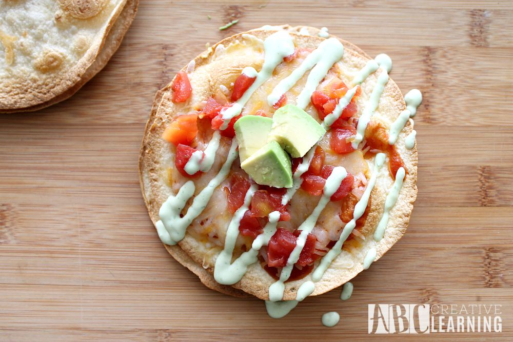 Mexican Pizza with Homemade Refried Beans and Creamy Avocado Dressing tortillas
