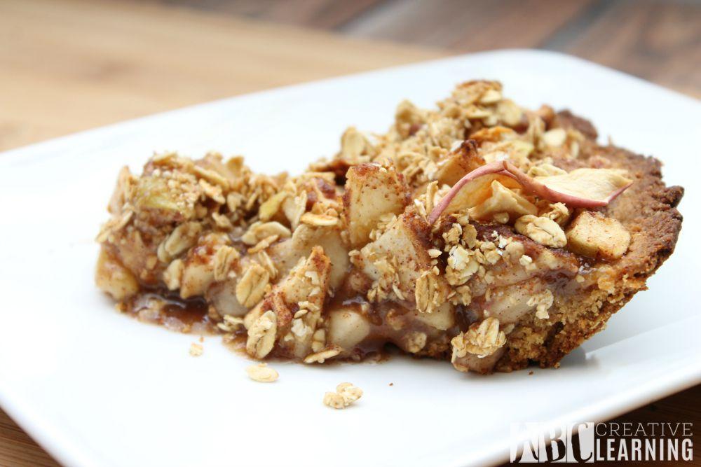 Simple Apple Pie with Sea Salt Caramel Apple Granola Crust Slice