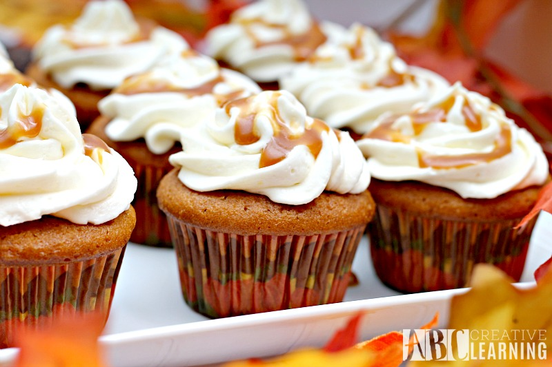 Caramel Pumpkin Spice Cupcakes with Marshmallow Frosting fall recipe
