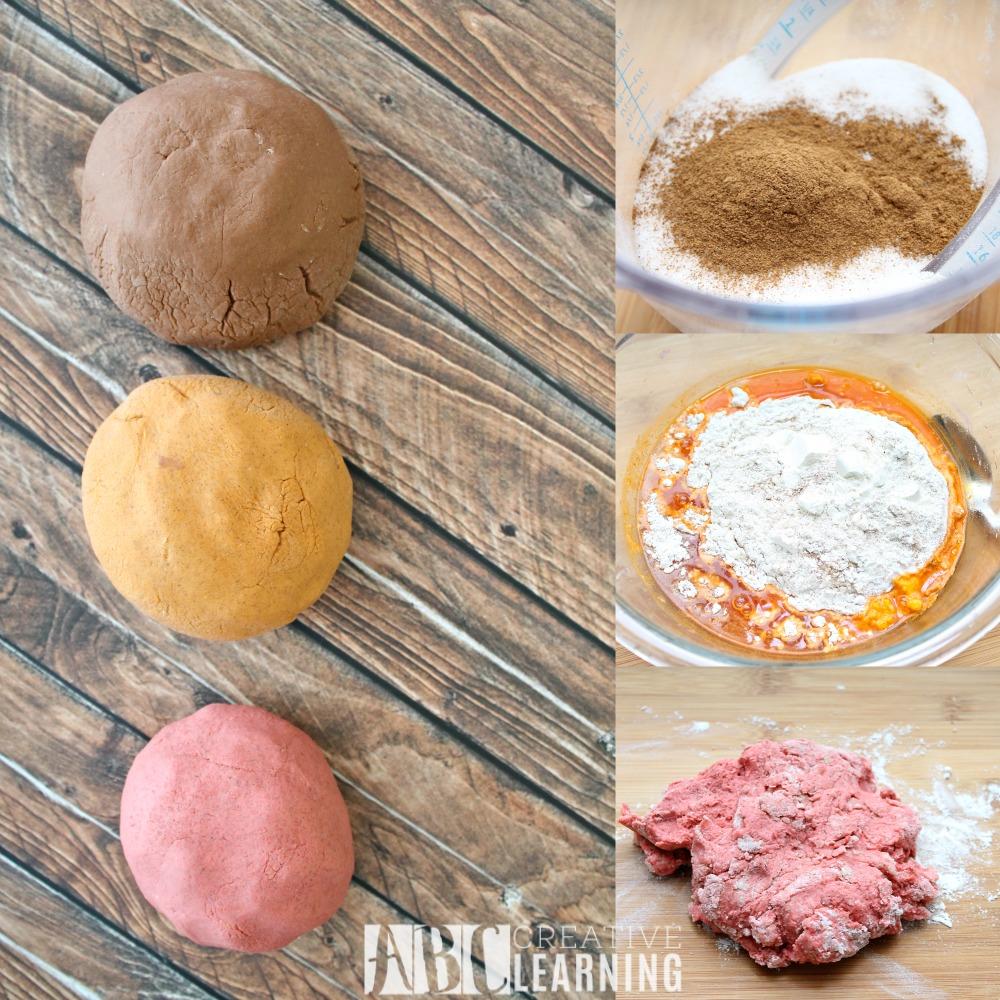 Homemade Fall Playdough Recipe Process