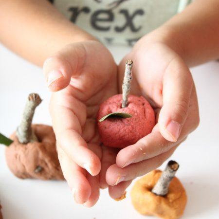 Homemade Fall Playdough Recipe apples