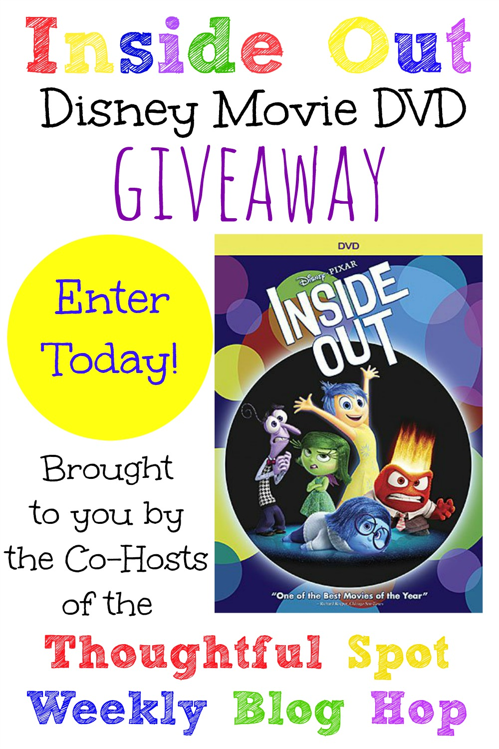 Thoughtful Spot Weekly Blog Hop Inside Out Disney Movie Giveaway