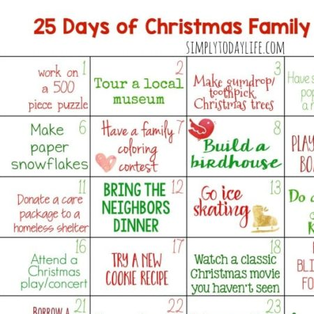 Christmas Calendar Activity For Families