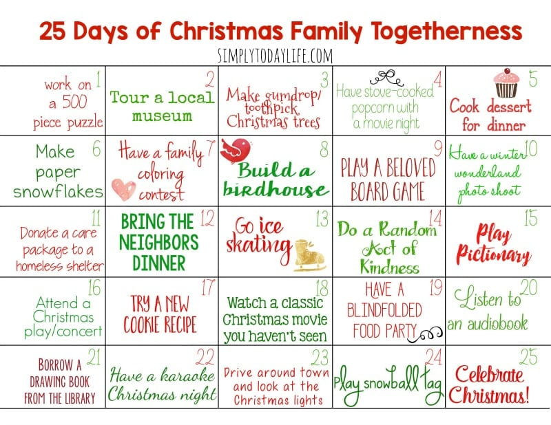 Family Togetherness Activity Calendar