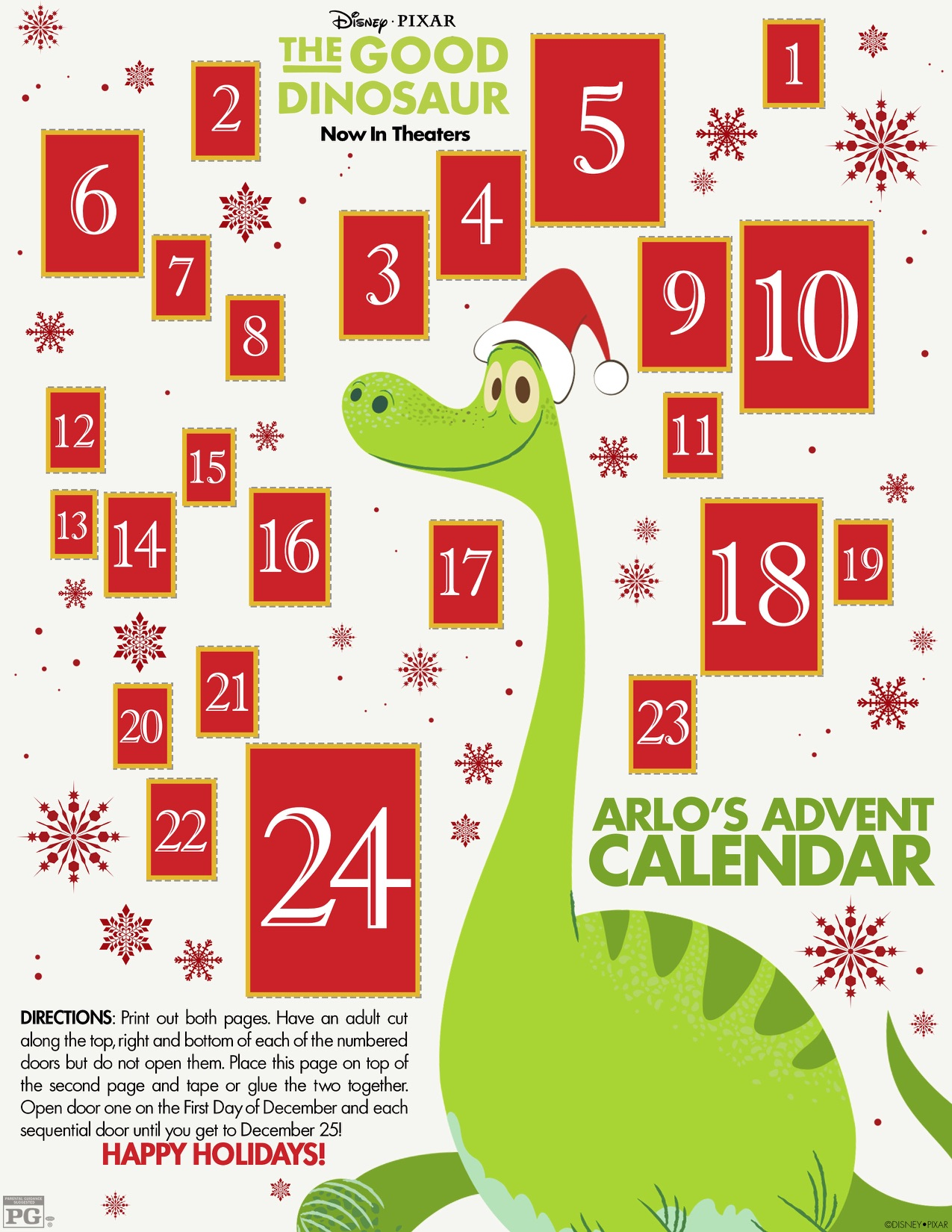 The Good Dinosaur Advent Calendar and Activity Sheet #GoodDino