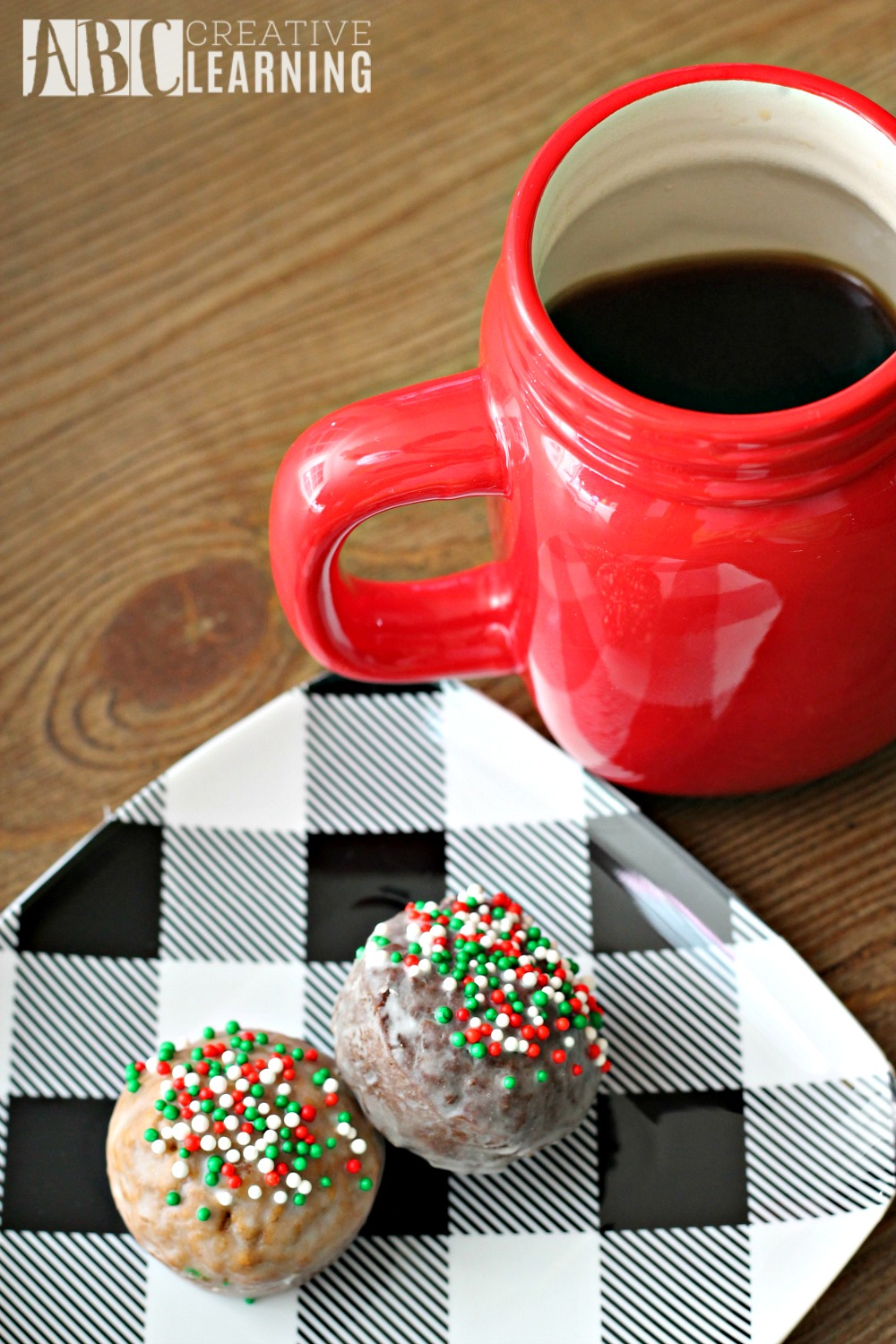 Gingerbread and Chocolate Glazed Donut Holes coffee