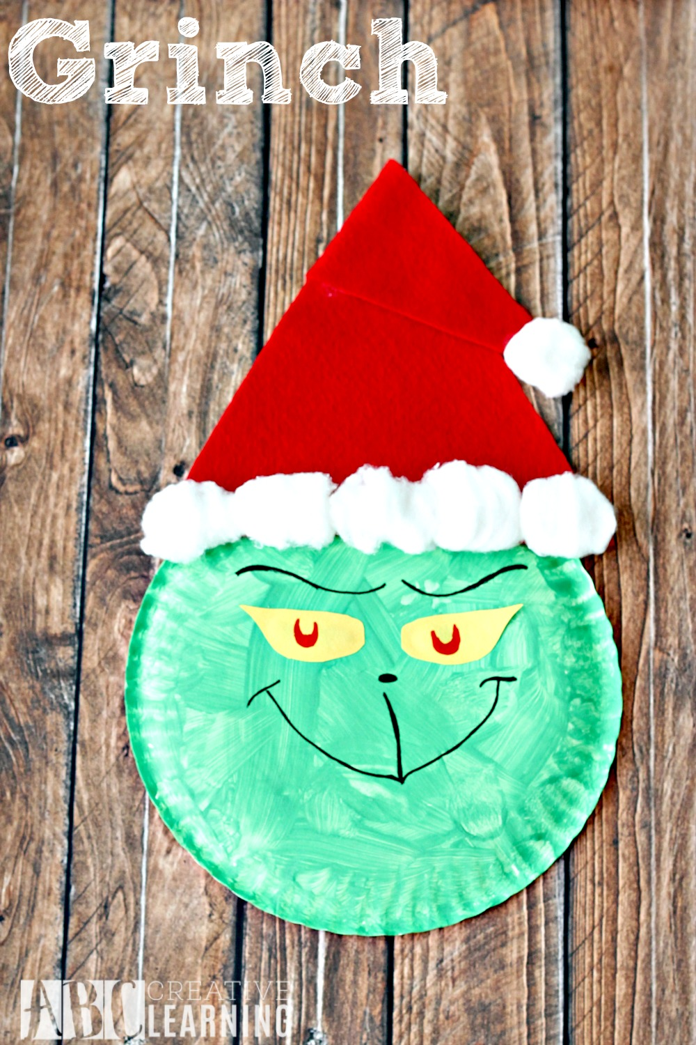Grinch Paper Plate Crafts Santa Hat