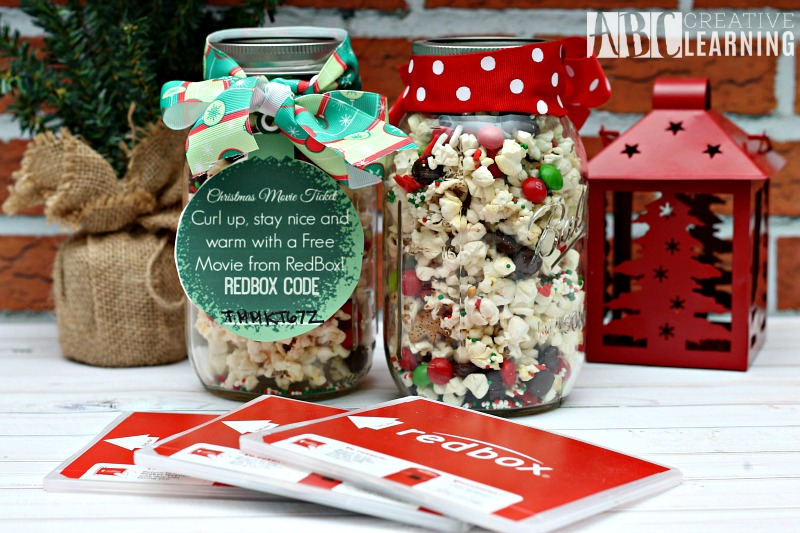 Holiday Popcorn Mason Jar Treat Redbox Code Tag