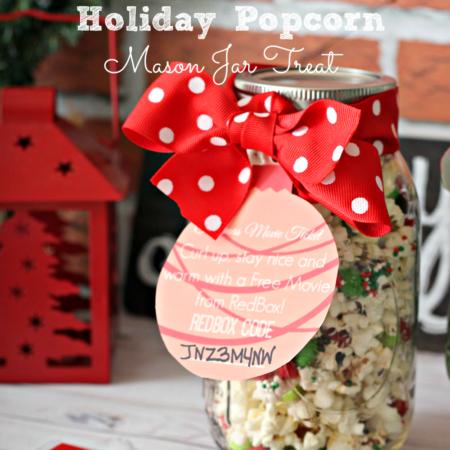 Holiday Popcorn Mason Jar Treat