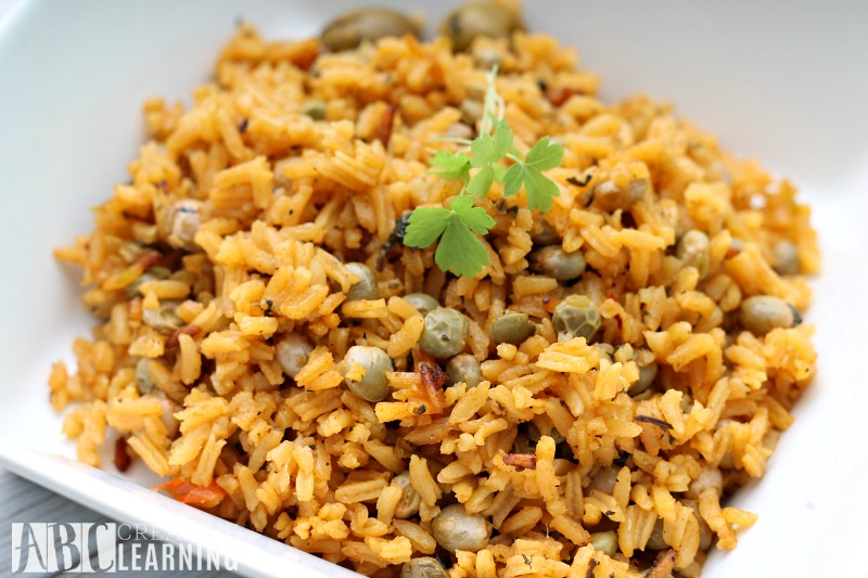 Traditional Arroz con Gandules for the Holidays closeup