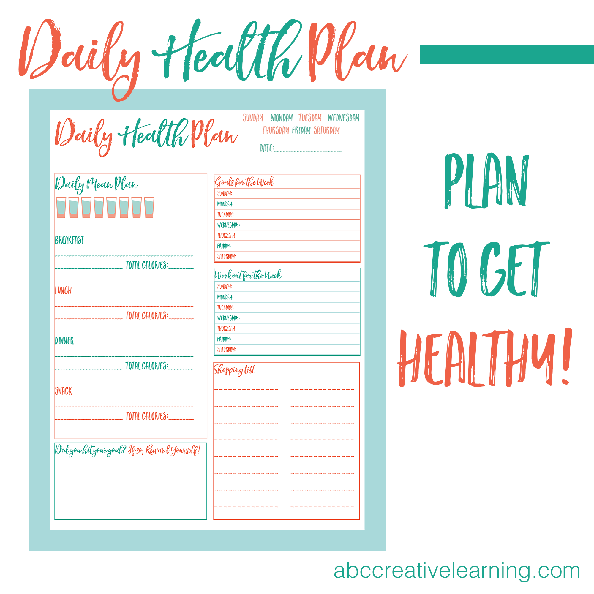 Daily Health Plan Printable Abc Creative Learning