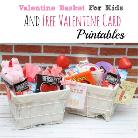 Valentine Basket for Kids and Free Valentine Card Printable