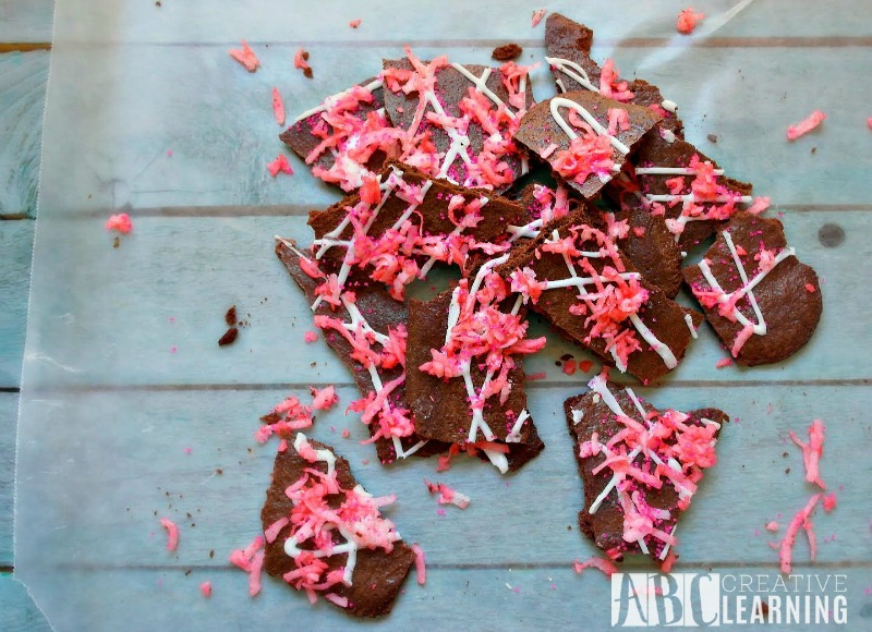Valentine's Day Brownie Bark Pieces