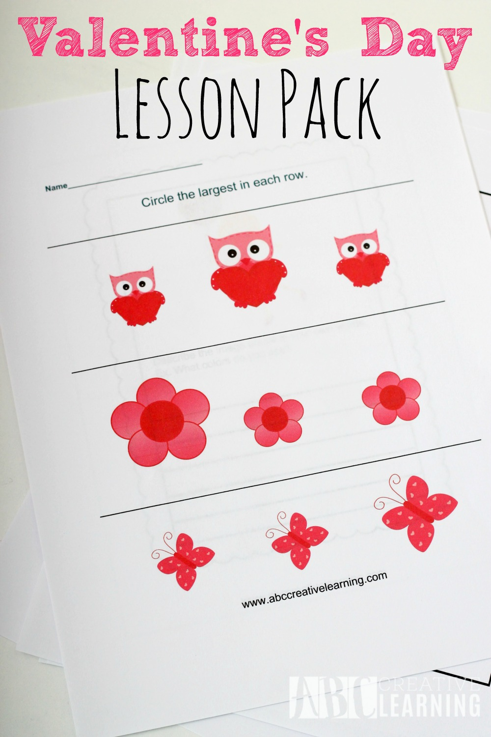 Valentine's Day Lesson Pack Sizing