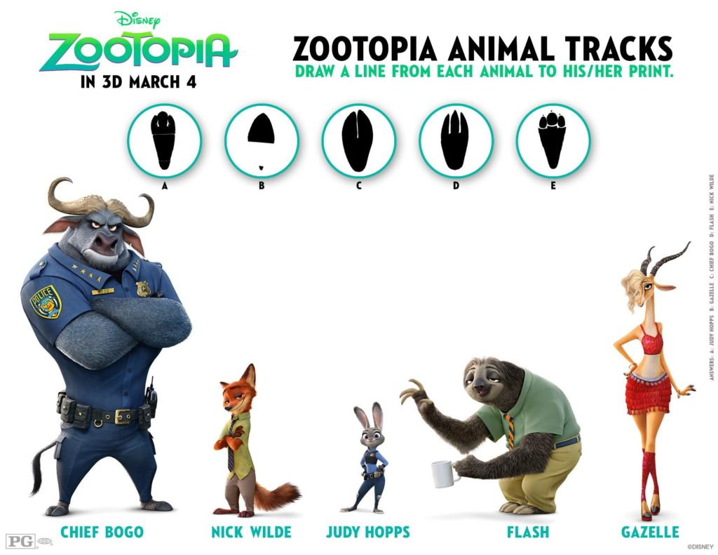 New #Zootopia Coloring and Activity Sheets Animal Tracks