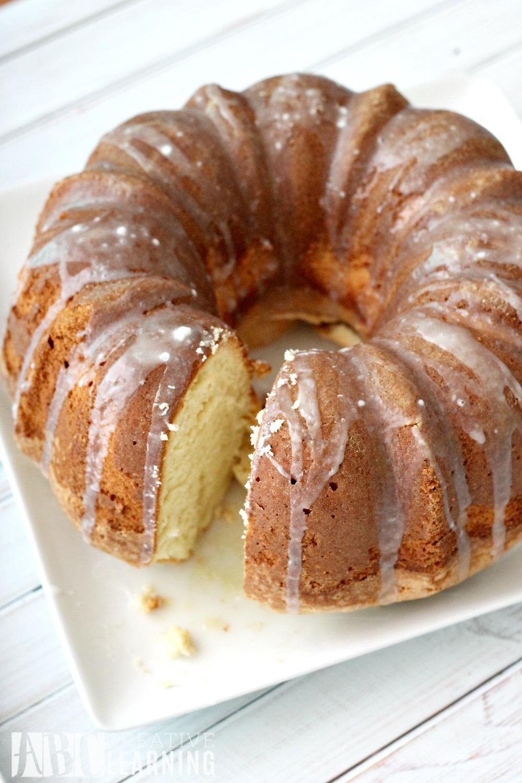 Dairy Free Almond Vanilla Pound Cake Cut