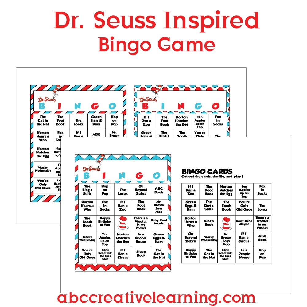 Dr. Seuss Inspired Bingo Cards Sample