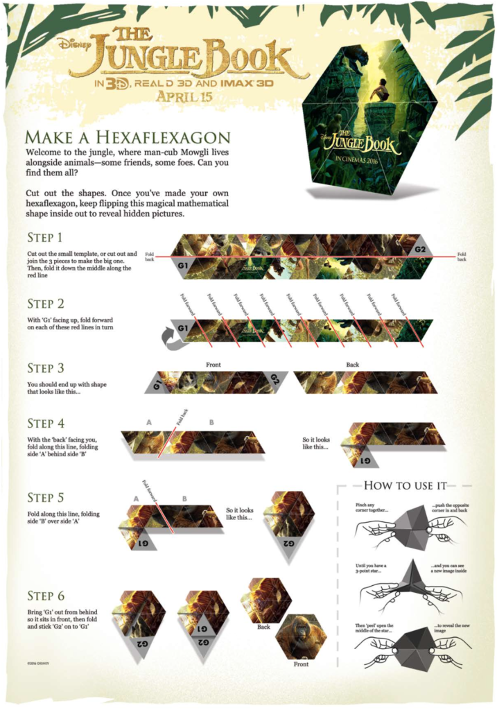 Disney's The Jungle Book Activity Sheets #JungleBook Hexaflexagon