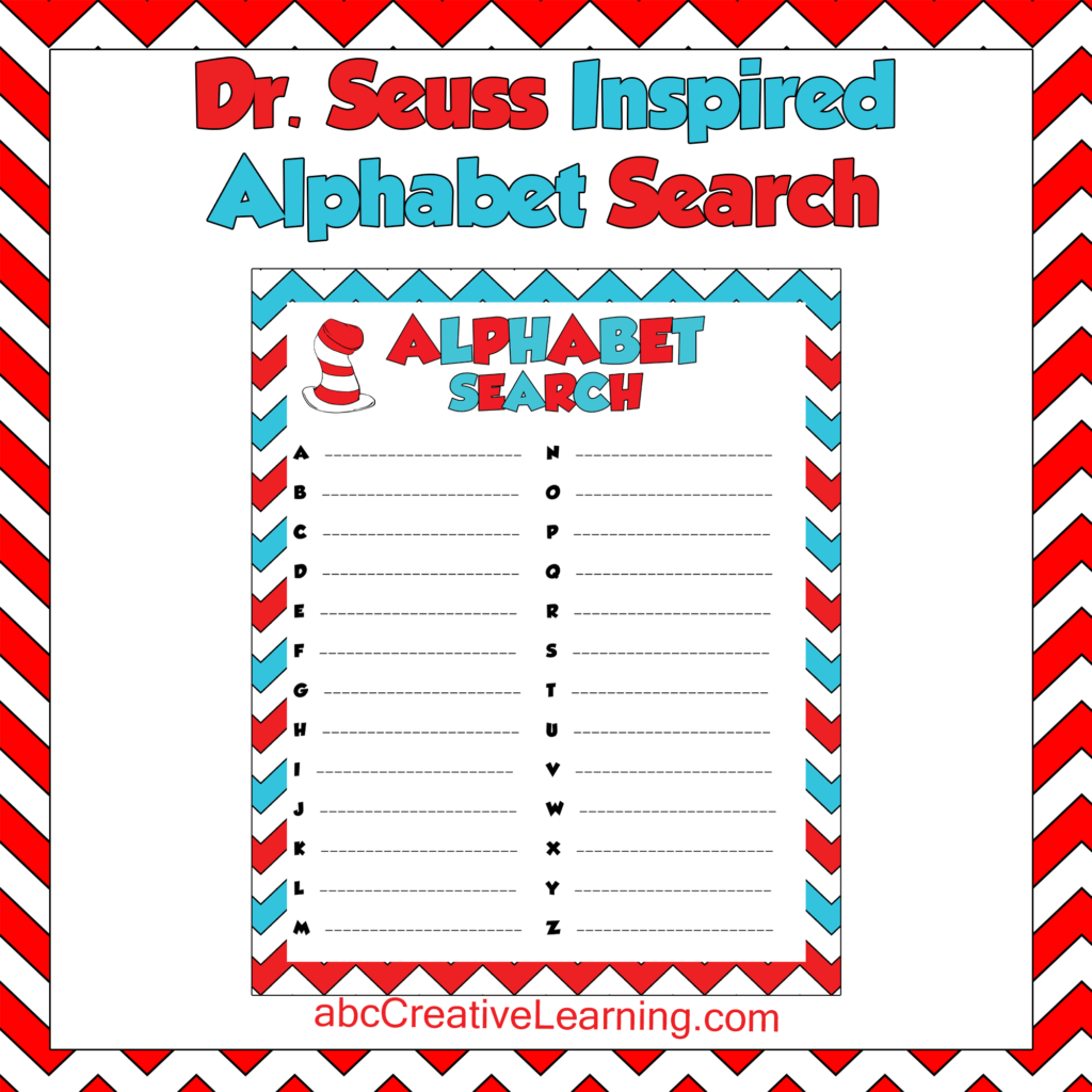 Dr. Seuss Inspired Alphabet Search Game