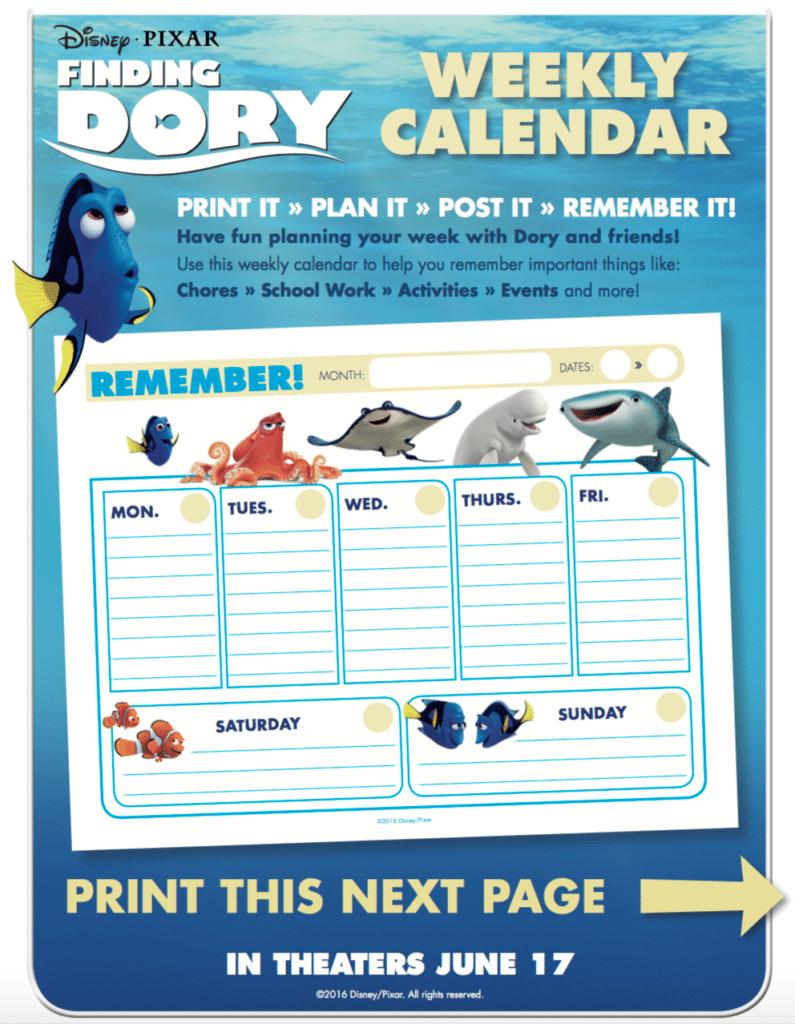 Finding Dory Memory Game Calendar