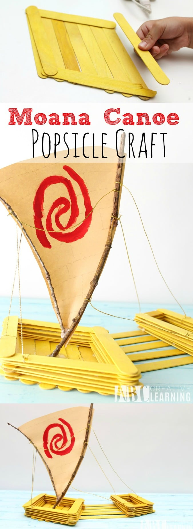 image about Moana Sail Printable named Moana Canoe Popsicle Craft #Moana