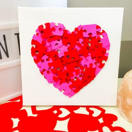 Valentine's Day Puzzle Heart Canvas Craft For Kids