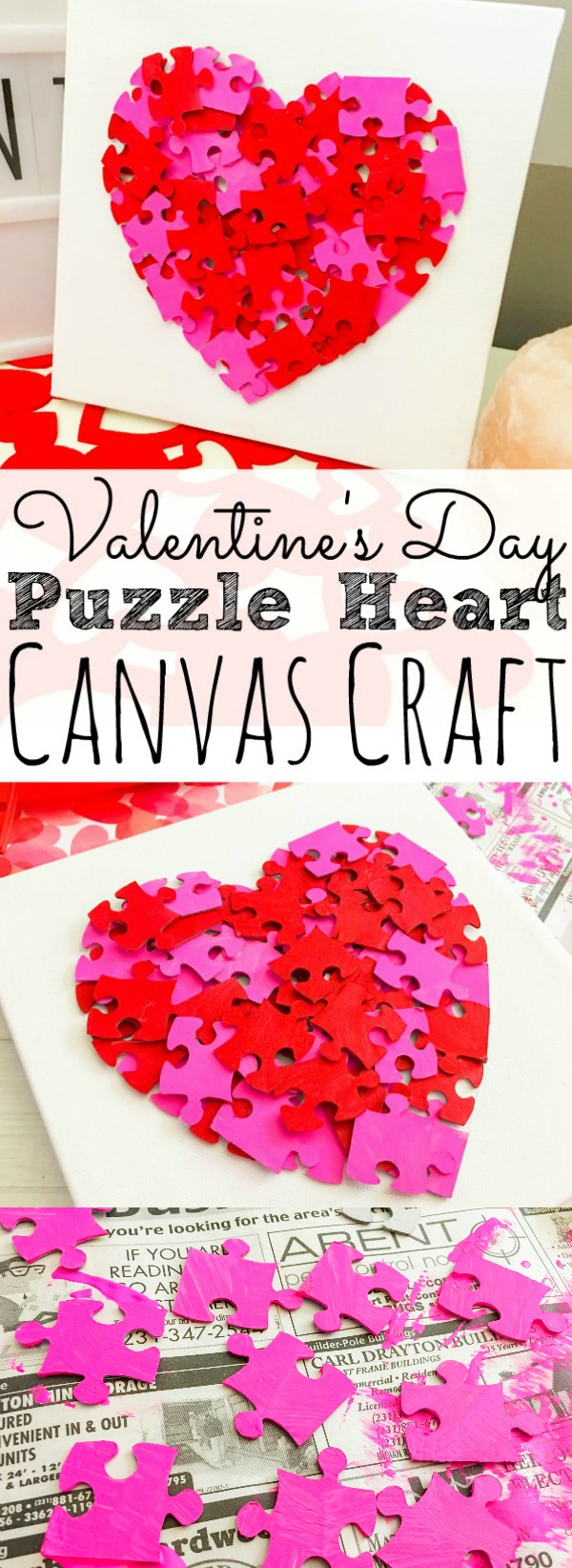 Valentine's Day Puzzle Heart Canvas Craft - simplytodaylife.com
