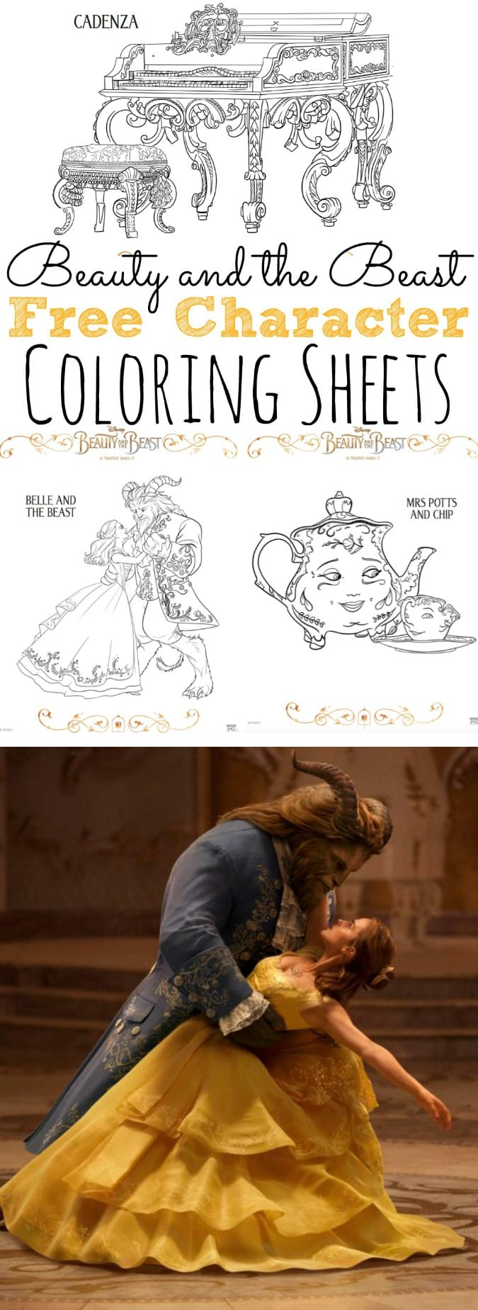 Free Beauty and the Beasst Coloring Pages and Activity Sheets