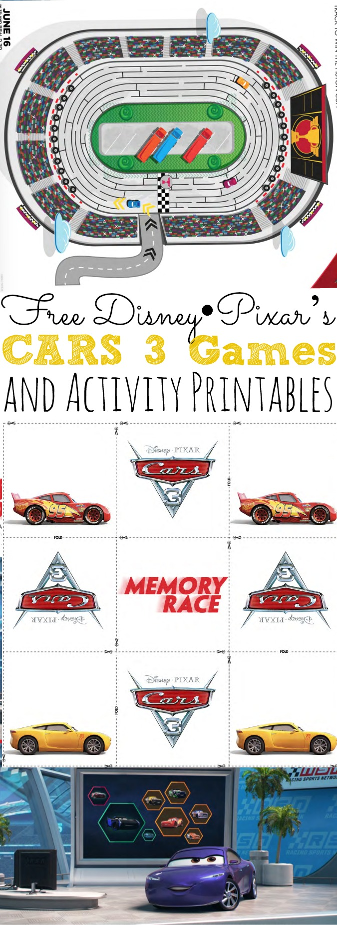 Free Disney Pixar S Cars 3 Games And Activity Printables Simply