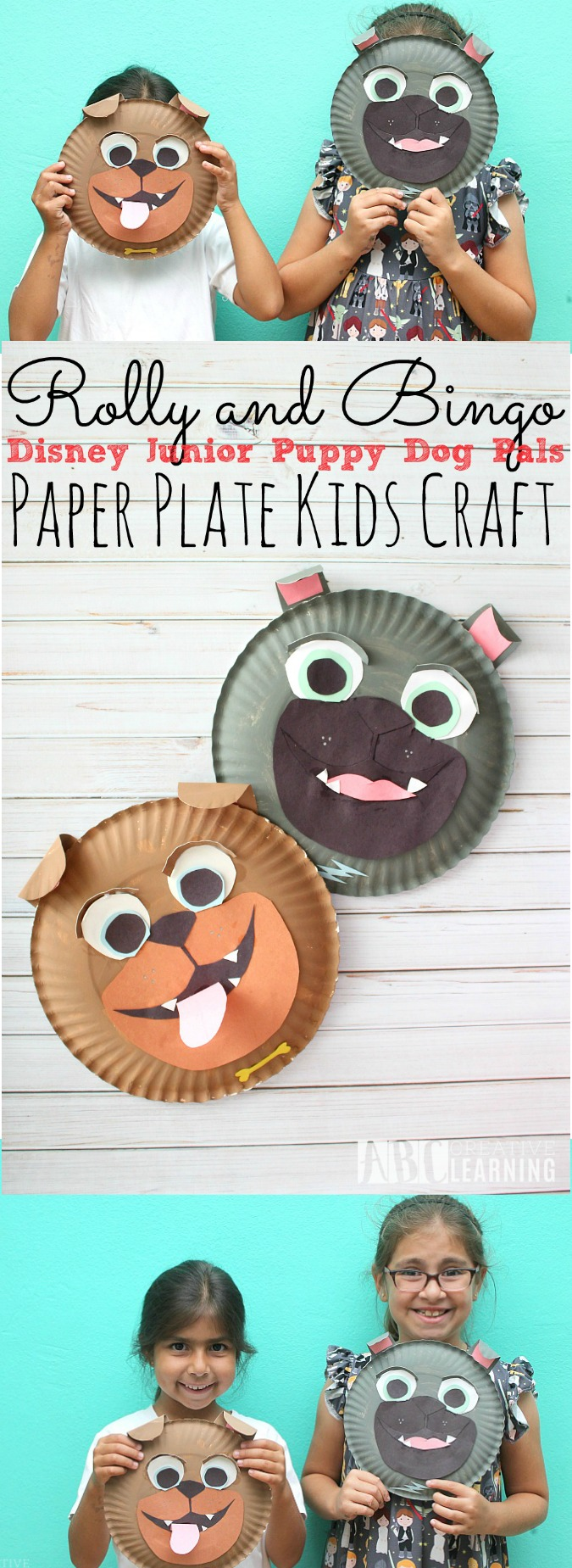 Rolly and Bingo Paper Plate Kids Crafts Inspired by Disney Junior Puppy Dog Pals