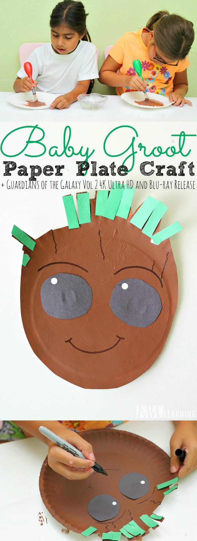 Paper Plate Baby Groot Craft + Guardians of the Galaxy Vol 2 4K Ultra HD™ and Blu-ray Release - abccreativelearning.com