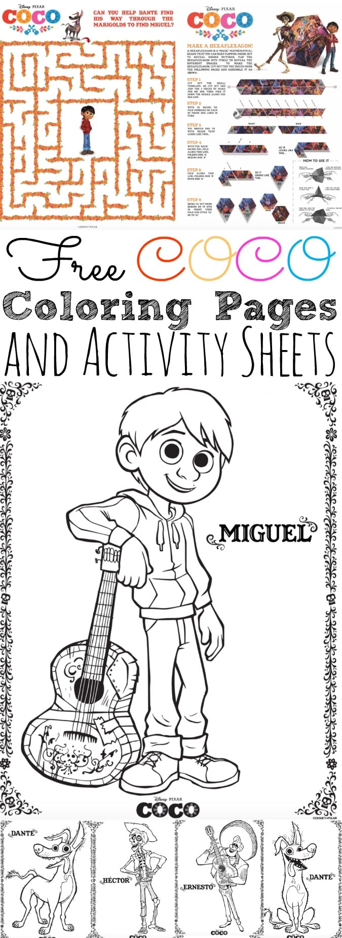 free coco coloring pages and activity sheets simplytodaylifecom - Coloring Pages Images