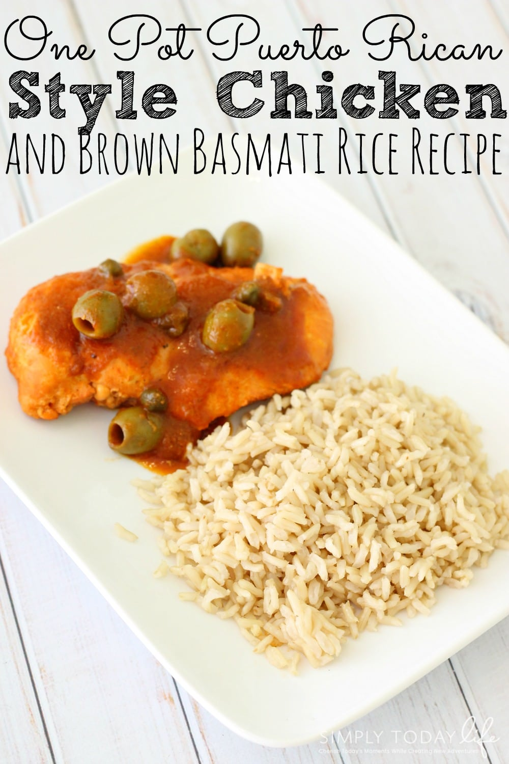 One Pot Puerto Rican Style Chicken and Brown Basmati Rice Recipe - simplytodaylife.com