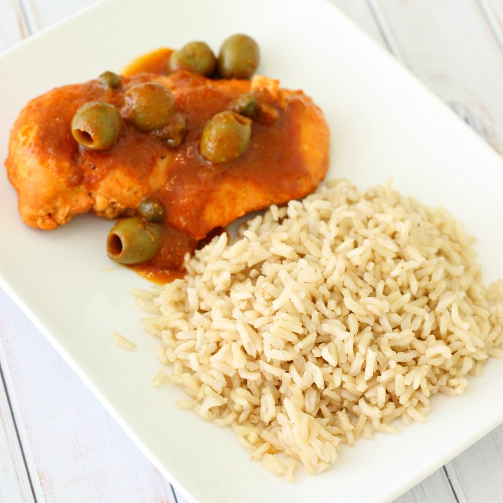 One Pot Puerto Rican Style Chicken And Brown Basmati Rice