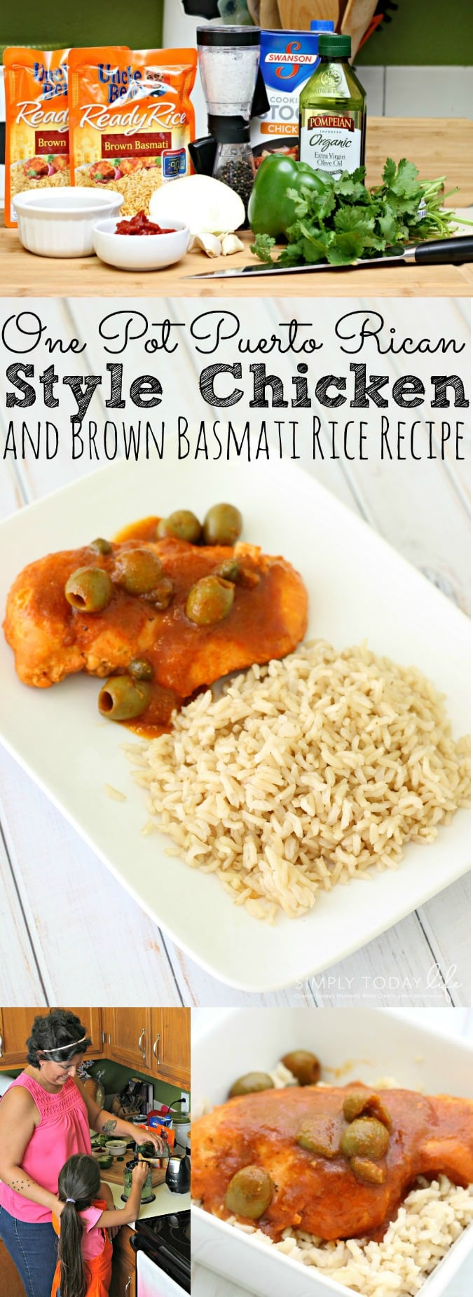One Pot Puerto Rican Style Chicken and Brown Basmati Uncle Ben's Rice Recipe - simplytodaylife.com
