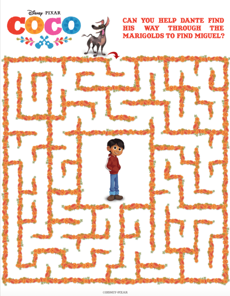 FREE COCO Maze Activity Sheet